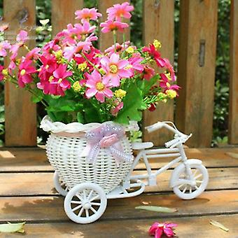 Plastic White Tricycle Bike Design, Flower Basket Storage