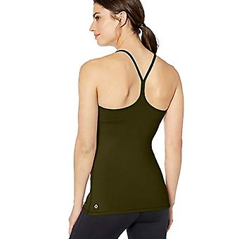 Brand - Core 10 Women's Standard Yoga Fitted Support Tank (XS-XL, Plus Size 1X-3X), Olive, Medium