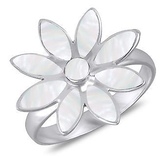 ADEN 925 Sterling Silber weiß Perlmutt Blume Ring (ID 2968)