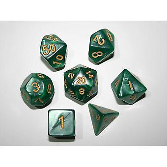 Pearl Polydice Set - Green - 7 Standard Sized Dice for D&D and other RPGs