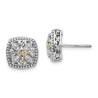 925 Sterling Silver With 14k Diamond Post Earrings Jewelry Gifts for Women - .05 dwt