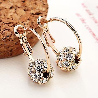 Złote Kolczyki Hoop z crystal ball charms