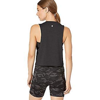 Merk - Core 10 Women's Soft Workout Cropped Tank, Black Heather, S (4...