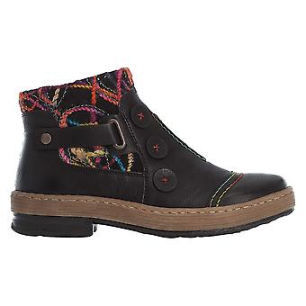 Rieker Black Slip On Ankle Boot With Colourful Knit Detail