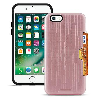 2-piece cover with card compartment for Apple iPhone 6/6s Brushed Cover Hard Rose Gold