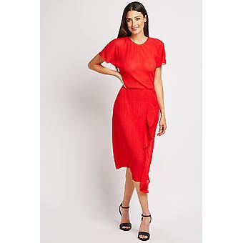 Plisse Ruffle Midi Dress