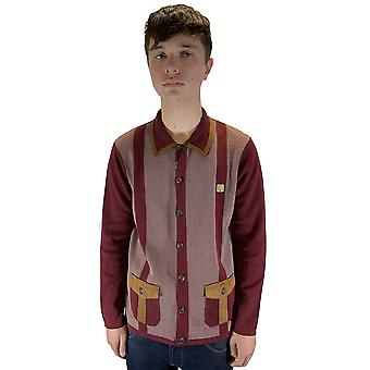 Montego Burgundy Striped Limited-Edition Button-Down Cardigan