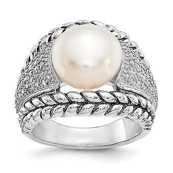 Polished Open back Diamond and White Freshwater Cultured Pearl Ring Jewelry Gifts for Women - Ring Size: 6 to 8
