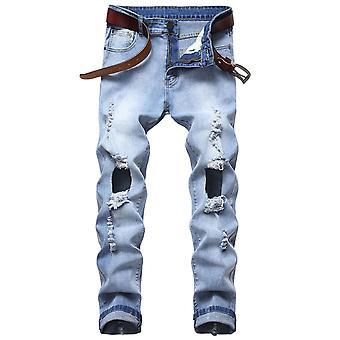 Allthemen Men's Ripped Stretch Jeans Nostalgic Classic Blue Slim Pantalon