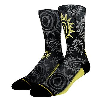Merge 4 New Deal Sun Pattern Socks - Black