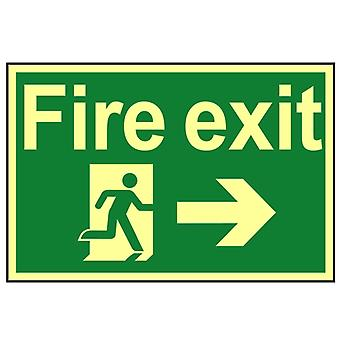 Scan Fire Exit Running Man Arrow Right - Photoluminescent 300 x 200mm SCA1581