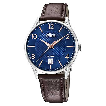 Lotus Men's Bracelet en cuir brun | Montre cadran bleu L18402/E