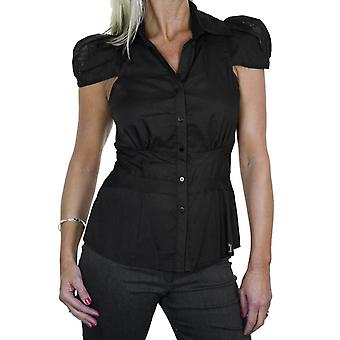 Women's Smart Formal V Neck Button Down Shirt Top Ladies Business Office Short Cap Sleeve Slim Fit Blouse Black 8-16