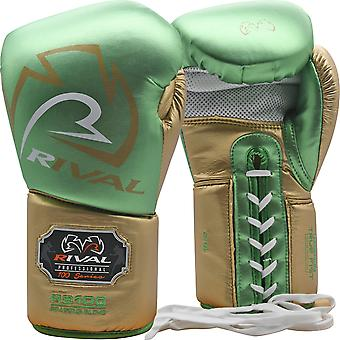 Rival Boxing RS100 Professional Lace Up Sparring Gloves - Green/Gold