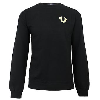 True religion men's black crew neck sweatshirt