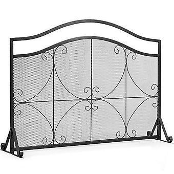 Single Panel Fireplace Screen Free Standing Spark Guard Fence High