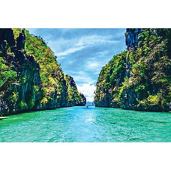 Wall Mural Tropical landscape with rock islands, lonely boat and crystal clear water (Philippines)