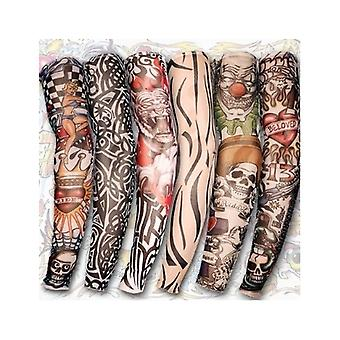 6 Styles Nylon Stretch Costume Fake Tattoo Sleeve Arm - Fancy Dress Stocking
