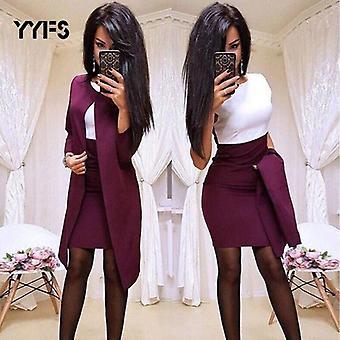Γυναίκες Long Blazer θήκη O-λαιμό Μίνι Γραφείο Επίσημη Κοστούμια Φόρεμα