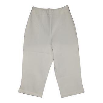 "Joan Rivers Classics Collection Mujeres's Pantalones Pull-On 17"" Capri Blanco A303907"