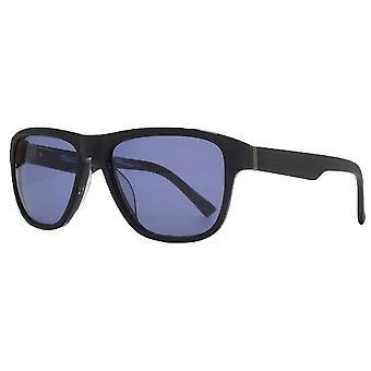 Franska Anslutning Premium Rektangel Acetat Solglasögon - Svart Trä
