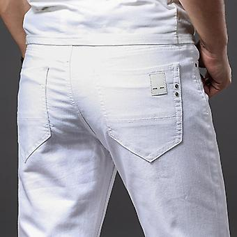 Men White Jeans, Casual Classic Style Slim Fit, Soft Trousers, Male Advanced