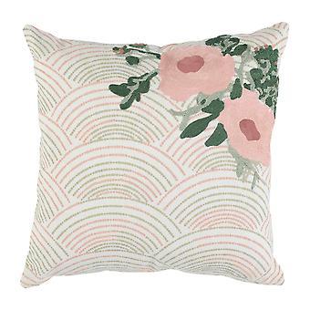 Oreiller enveloppé de jet de tissu avec le modèle floral tissé, rose