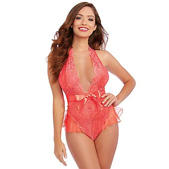 Dreamgirl One Size Stretch Scalloped Galloon Lace Teddy with Plunging Halter Neckline