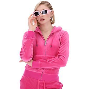 Juicy Couture Robertson Velour Zip Front Hoodie Röd 63