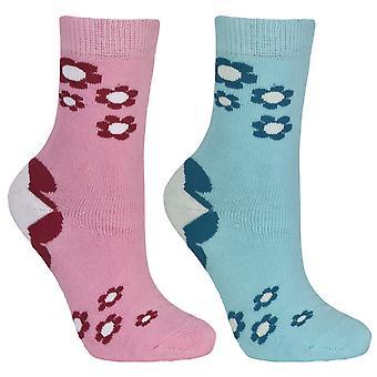 Trespass Childrens Girls Bevan Flower Patterned Socks (2 Pairs)