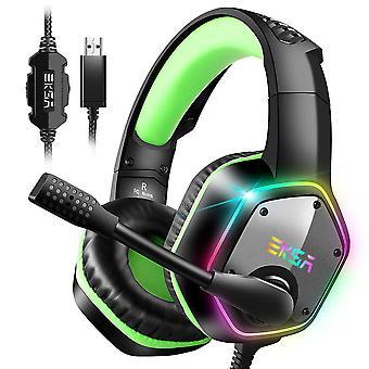 EKSA USB-spelheadset, 7.1 Surround Sound Gaming Headset, PS4-headset, PC Gaming Headset med brusreducerande mikrofon- och RGB-ljus, PC-kompatibel, Playstation 4-grön