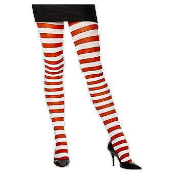 Womens Red and White Striped Tights Candy Cane Christmas Elf Stockings