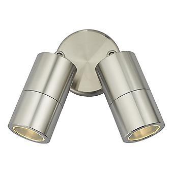 DAR ORTEGA Spotlights Vegglampe Aluminium IP65, 2x GU10