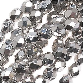 Czech Fire Polished Glass Beads 4mm Round Silver Metallic (50)