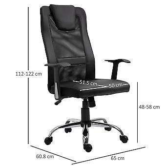 Vinsetto Swivel Mesh Office Chair Task High Back Desk Chairs Height Adjustable Armchair for Home with Headrest, Black
