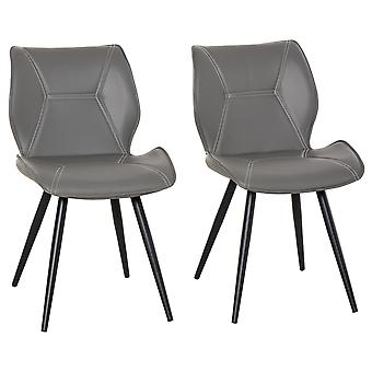 HOMCOM Set of 2 Contrast Stitched PU Leather Racing-Style Dining Chairs Accent Seat w/ Steel Legs Ergonomic Back Padding Home Living Room Grey