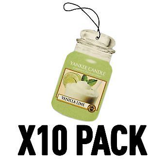 Vanilj lime (förpackning med 10) Yankee Candle Car Jar Luftfräsare