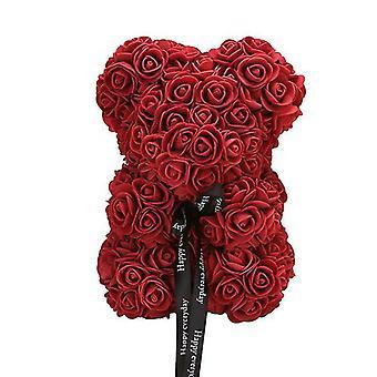Valentinstag Geschenk 25 cm Rose Bär Geburtstagsgeschenk£¬ Memory Day Geschenk Teddybär (Weinrot)