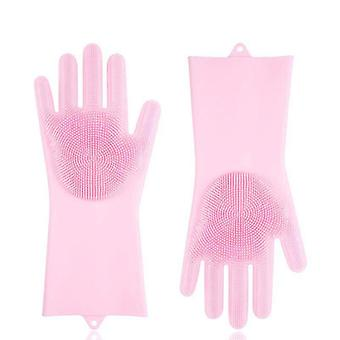 Magic Silicone Gloves Scrubbing Gloves For Dishes Dishwashing Gloves(Pink)