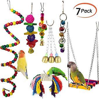 7Pcs / set Pet Parrot Hanging Toy Chewing Bell Bird Parakeet Cage Accessories Pet Supplies  Juguetes para pájaros