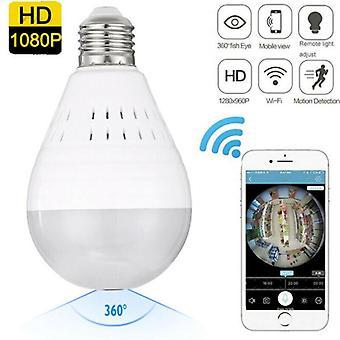 HD 1080P 360 Fisheye Panoramic Hidden Wifi Camera Light Bulb Home Security Lamp