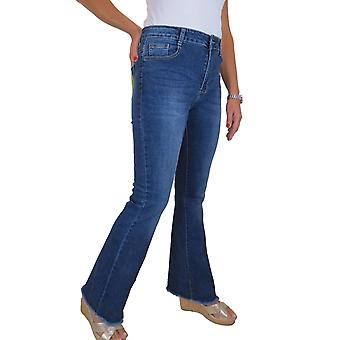 Womens Flared Stretch Denim Jeans Ladies High Rise Frayed Bootcut Bottoms