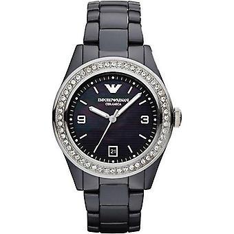 Emporio Armani AR1468 Swarovski Cristal Nácar Esfera & Reloj de dama Black Ceramica