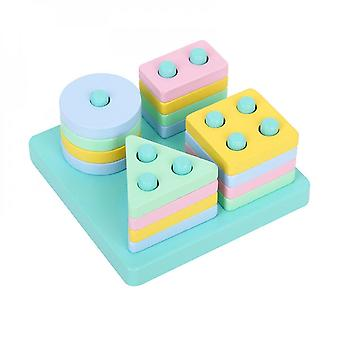 Wooden Puzzle Baby Stacking Blocks Shape Sorting Developmental Tumble Tower Early Learning Matching Game Toy Baby Favors