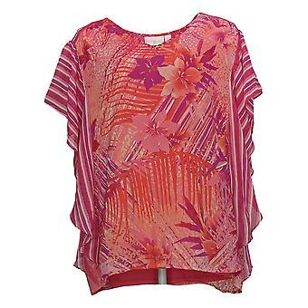 Belle af Kim Grus Kvinders Top Flutter-Sleeve Bluse Pink A351263