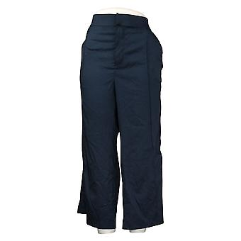 zuda Women's Petite Pants Crop Wide Leg w/ Snaps Blue A377769
