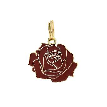 Pet Id Tag - Rose - rot & Gold