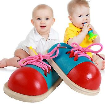 1Pcs kids montessori educational toys children wooden toys toddler lacing shoes early education montessori teaching aids puzzle