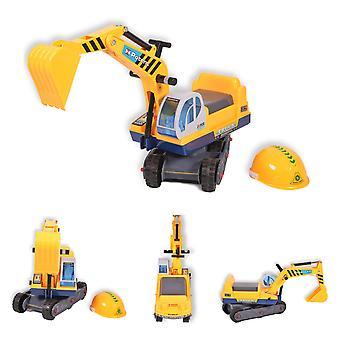 Excavadora de juego Moni 138 con casco, bocina de volante de 77 cm de largo, pala móvil