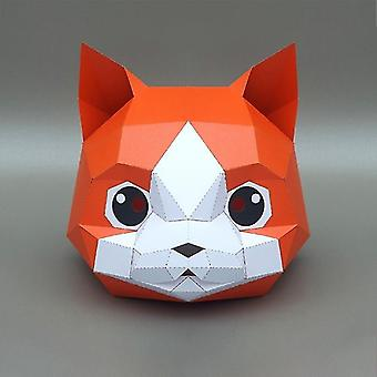 Cat Shaped Diy 3d Paper Model Face Mask For Cosplay Halloween Party